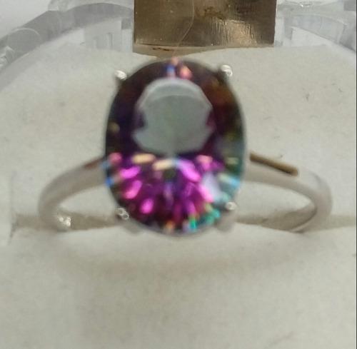 anillo solitario circon multicolor de plata fina 925.cj25.