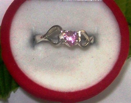anillo solitario, circón rosado corazón
