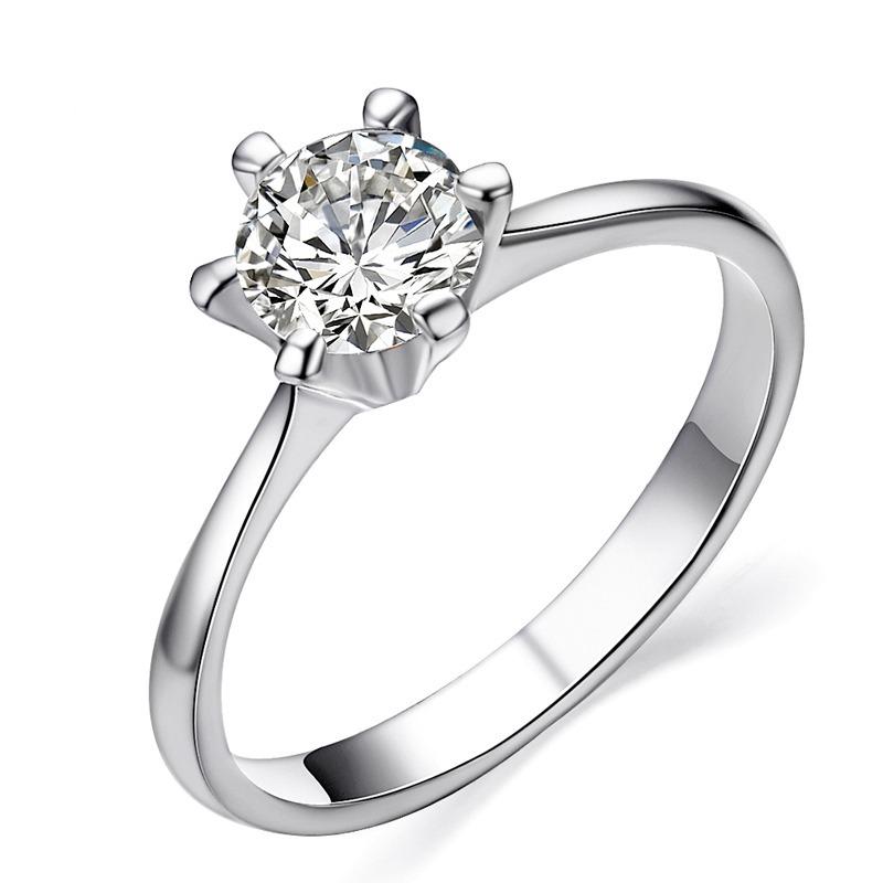 a1cbc8d16ada anillo solitario clásico de compromiso oro blanco 18k. joyas. Cargando zoom.