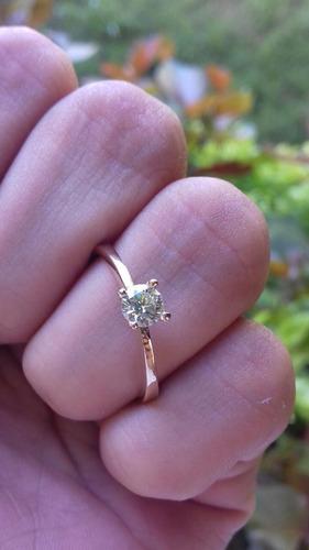 anillo solitario con diamante 0.13ct