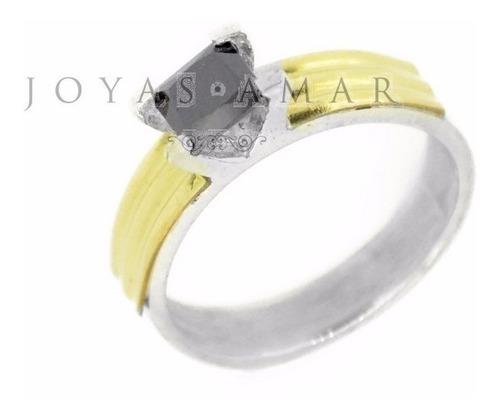 anillo solitario plata y oro cinta piedra en altura