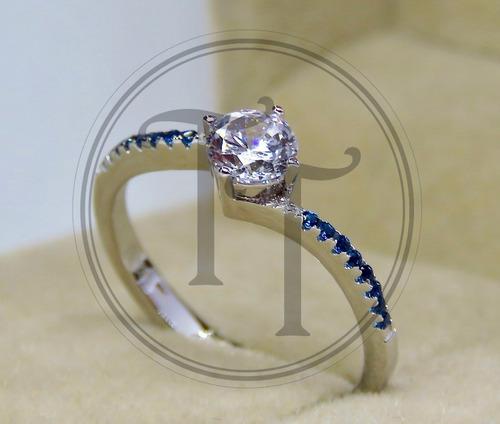 anillo solitario zafiro 0.66 ct en plata esterlina 925
