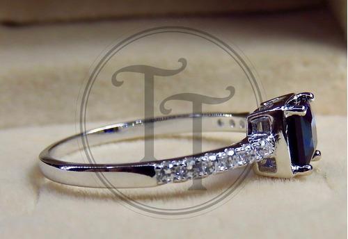 anillo solitario zafiro 0.91 ct plata esterlina 925