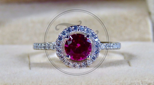 anillo solitario zafiro rosa 1.1 ct plata esterlina 925