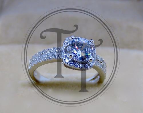 anillo solitario zirconias 1.1 ct plata esterlina 925 # 6