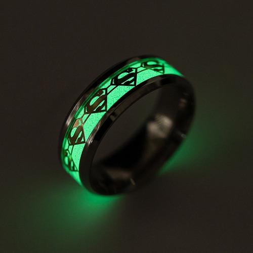anillo superman brilla en la oscuridad fluorescente hombre