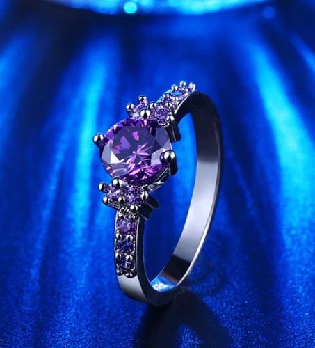 anillo swarovski elements cristal morado regalo promesa amor