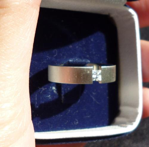 anillo talla 7 acero base brushed piedra circon cuadrada