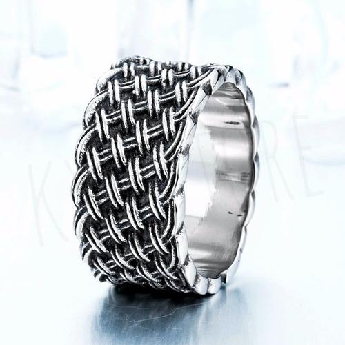 anillo tejido retro caballero acero inoxidable 316l
