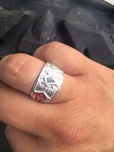 anillo templario masón  en plata 925