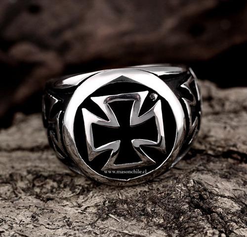 anillo templario - schwarzes kreuz - cruz templaria