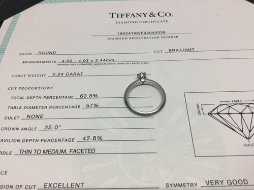 anillo tiffany & co .24 ct original platino con certificado
