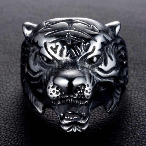 anillo tigre joyería acero inox hombres rock punk