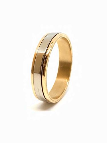 anillo tipo alianza oro 18k amarillo y blanco (a192)