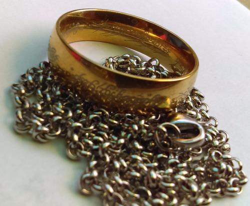 anillo tipo señor de los anillos hobbit cadena y bolsa
