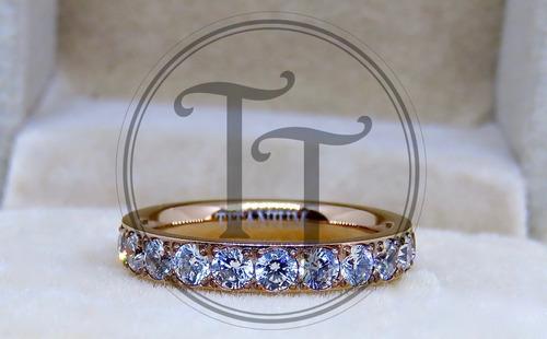 anillo titanio 18k rosa zirconias corte diamante 1.25 ct