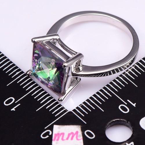 anillo topacio mistico en xxl piedra gigante cuadrada