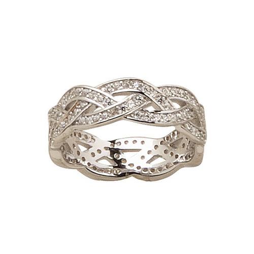 anillo trenzado de plata 925 rodinada y cúbic mod. 10300