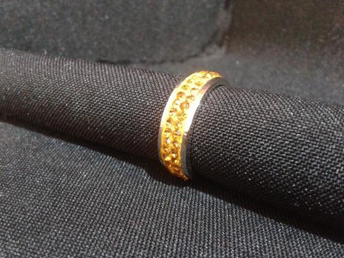 anillo tungsteno circonios naranjas 6mm del #7 a-70