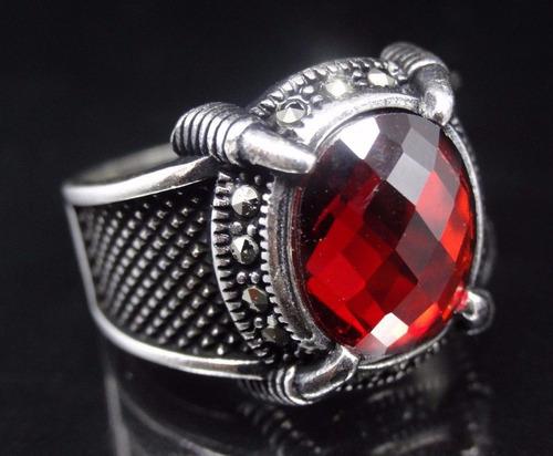 anillo turco otomano en plata 925 talla 9 (rubie) r01