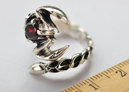 anillo turco plata 925 y granate escorpión hombre mujer