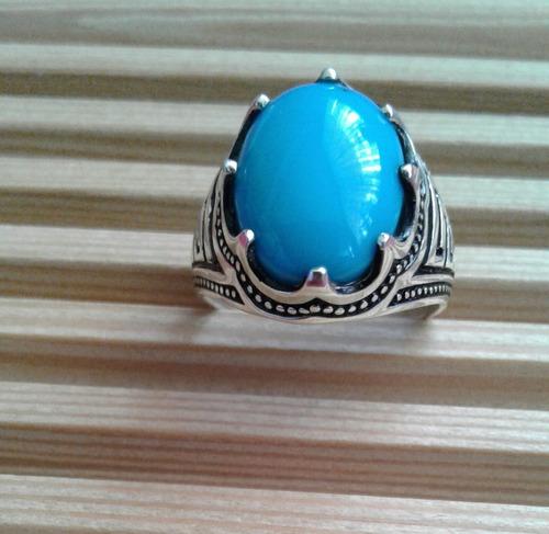 anillo turquesa # 9 (59) plata  9.25 para hombre o mujer