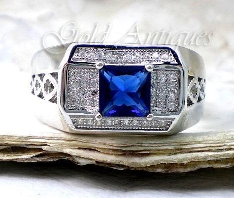 anillo unisex de plata 925 zafiro azul y zafiros