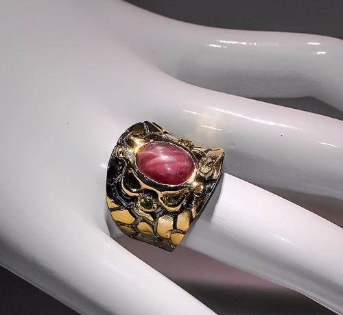 anillo unisex hombre mujer rubi y peridotos en plata oro