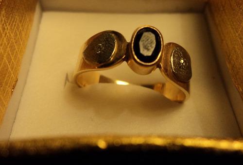 anillo unisex oro 18k y platino macizo brillantes y zafiro