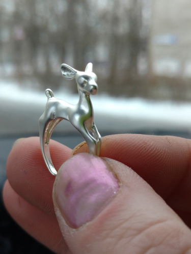 anillo venadito plateado ajustable regalo compromiso a-063