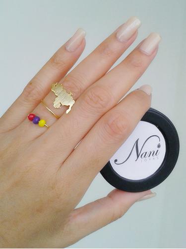 anillo venezuela ajustable en orfebrería con baño de oro