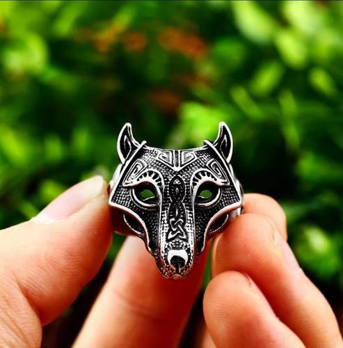 anillo vikingo lobo nordico hombre caballero moda 2019