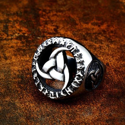 anillo vikingo nórdico celta runa acero inoxidable hombre