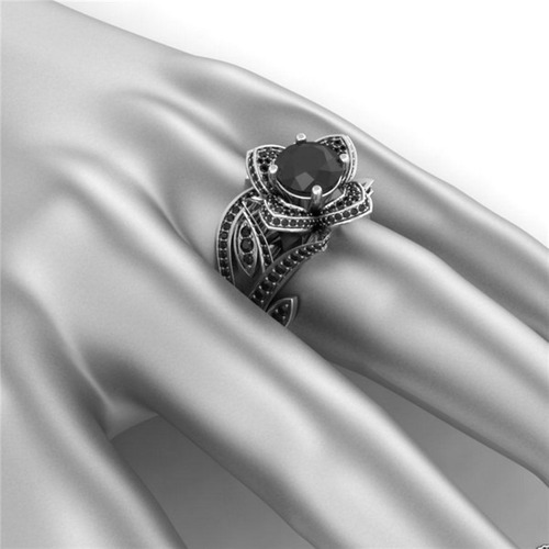 anillo vintage pure black rose ak jewelry