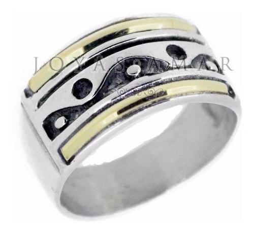 anillo ying yang ondas plata y oro