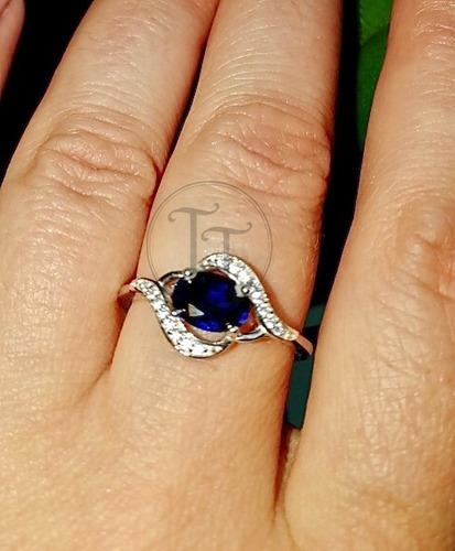 anillo zafiro 1.1 ct plata esterlina 925 feuille # 6-7-8