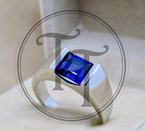 anillo  zafiro 3.33 ct plata esterlina 925 hombre