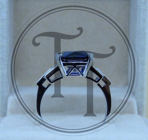 anillo zafiro 5.9 ct plata esterlina 925 lux