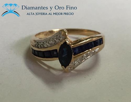 anillo zafiro marquise rodeado de brillantes naturales oro a
