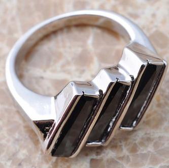 anillo zafiro negro # 7 baño en plata