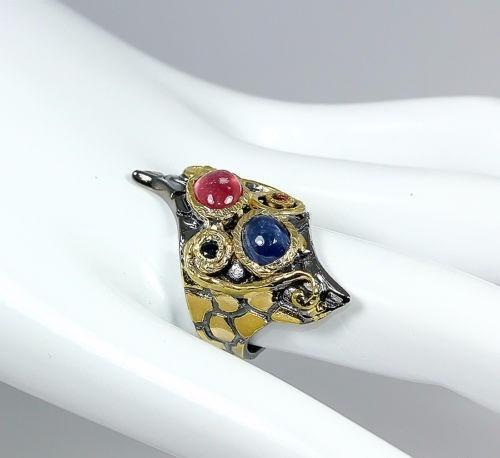 anillo zafiro rubí y granates en plata oro envio gratis