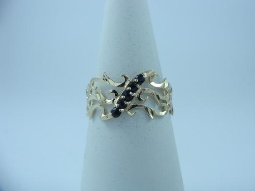 anillo zafiros oro