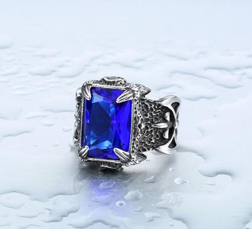anillo zirconia piedra azul garra acero inoxidable unisex