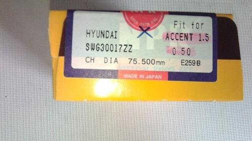 anillos 0.20 (0.50mm) hyundai accent 1.5 npr
