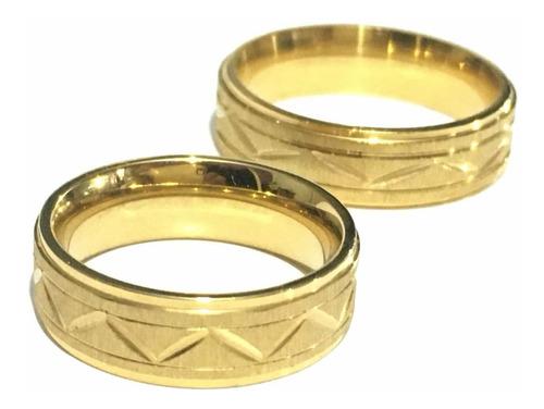 anillos acero enchape oro 18k boda compromiso regalos