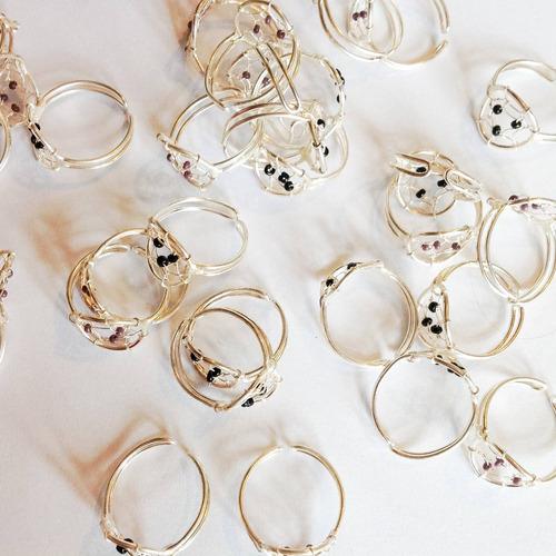 anillos atrapasueños dreamcatcher/ajustables alpaca plateada