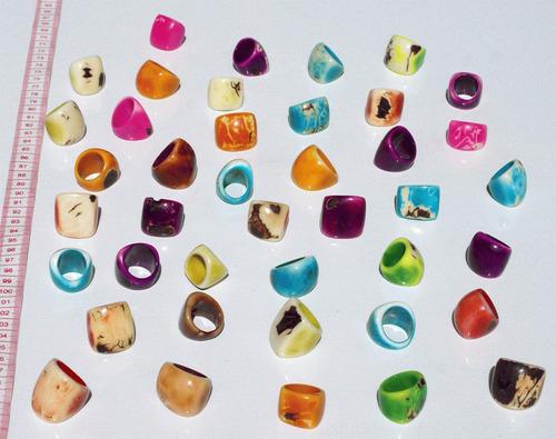 anillos bisuteria de nuez de tagua los colores, ecuador