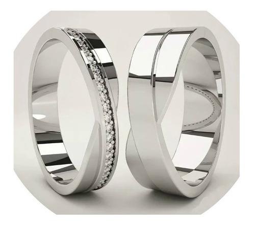 anillos boda en plata sterling con chapa de oro y rodio par