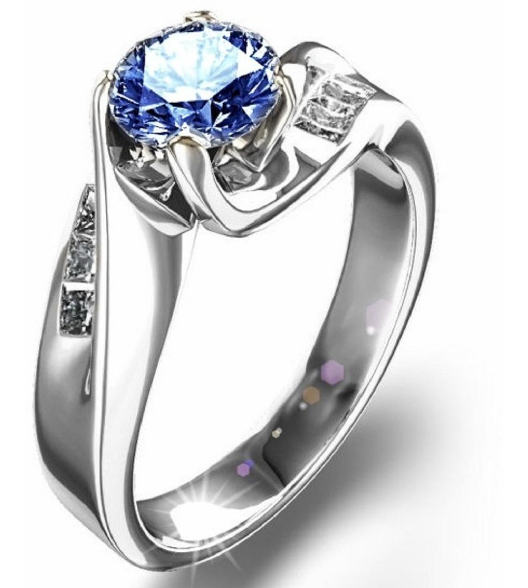 14kt79ct Compromiso Zafiro Anillos Y Marloz1 Diamantes JKc1TlF