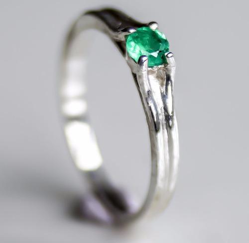 anillos compromiso esmeraldas plata baño oro blanco 18 mujer